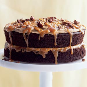 Double Chocolate Caramel Turtle Cake (LF)