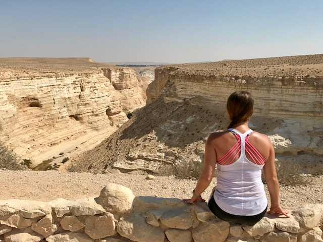 Girl hiking in the Negev in Israel