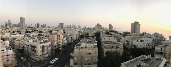 Tel Aviv panorama from hotel room window