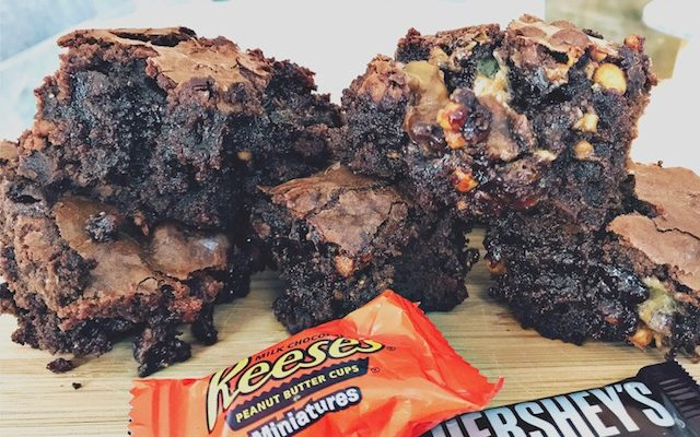 Leftover Halloween Candy Fudge Brownies