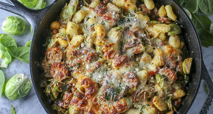 One Skillet Chicken Sausage and White Bean Gnocchi