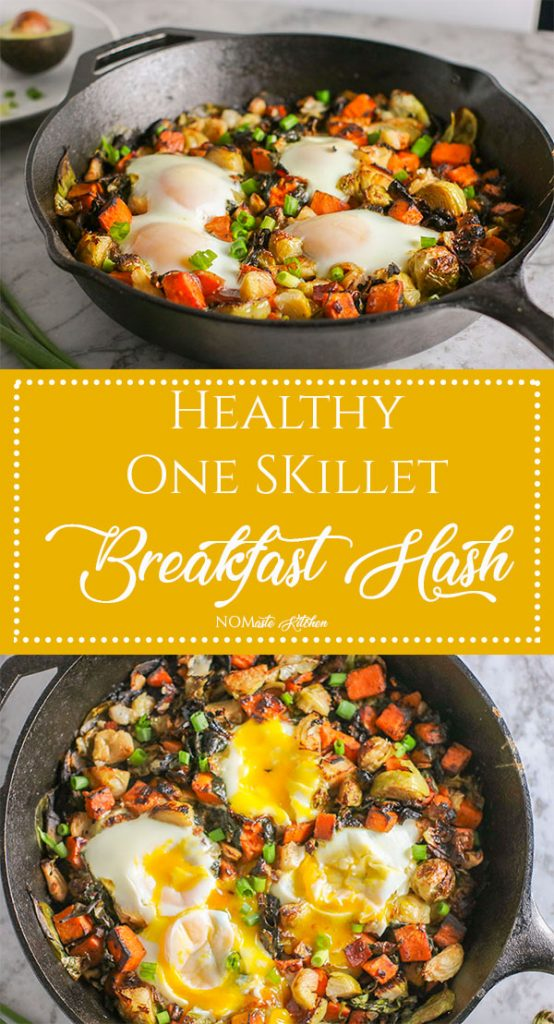 You will LOVE everything about this Healthy One Skillet Breakfast Hash - Tender sweet potatoes, nutrient-rich spinach, and roasted brussel sprouts, sprinkled with flavorful Canadian bacon, and topped with deliciously runny, baked eggs. Add sliced avocado for the perfect final touch | NOMaste Kitchen