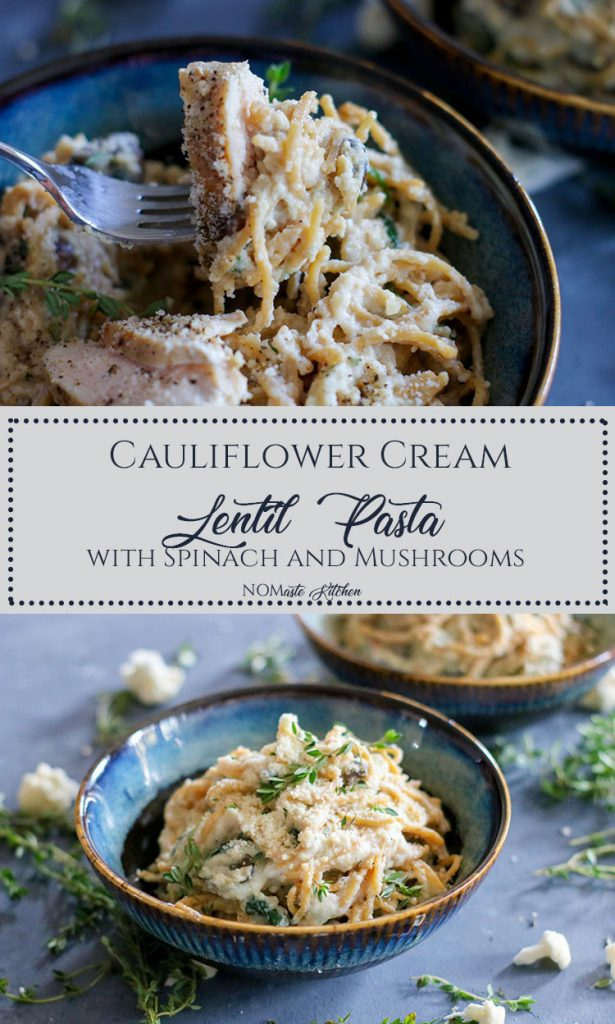 Healthy lentil pasta, nutrient-packed spinach and flavorful mushrooms, all coated in a deliciously light Cauliflower Cream Sauce. This Cauliflower Cream Lentil Pasta is the perfect dish to satisfy your creamy pasta cravings without budging the scale! | NOMaste Kitchen