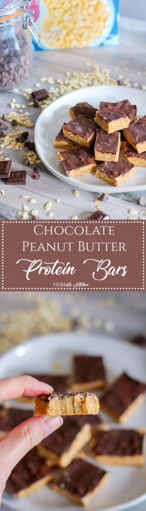 Rich, creamy peanut butter, crispy rice cereal, and decadent dark chocolate - these Chocolate Peanut Butter Protein Bars are the perfect post-workout snack! | NOMaste Kitchen