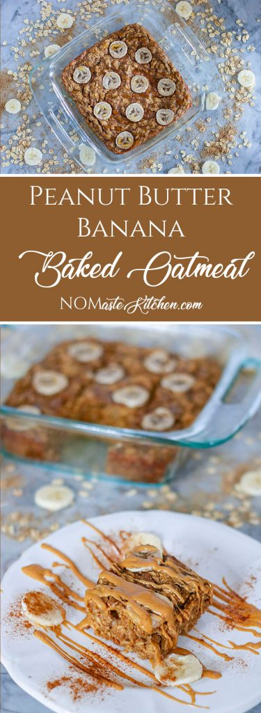 This EASY Peanut Butter Banana Baked Oatmeal is the PERFECT breakfast for anyone on-the-go! Creamy, rich baked oats, loaded with nutritious banana, protein packed peanut butter, fibrous flax and sweet cinnamon-goodness - these bars are full of ALL the good stuff. The best part? Your whole family will love them! | NOMaste Kitchen