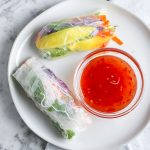 These Mango Avocado Summer Rolls are PERFECTION! Crisp cucumber, creamy avocado, juicy mango - they epitomize what all that is wonderful about SUMMER! | NOMaste Kitchen