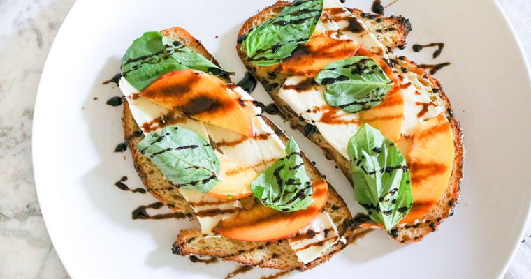 Camembert and Peach Toast with Balsamic Glaze