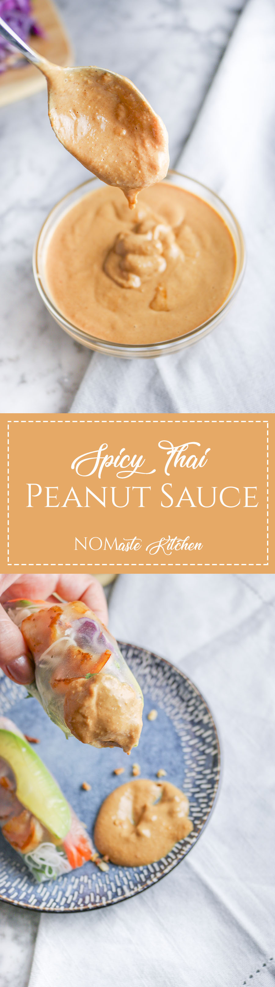 This Spicy Thai Peanut Sauce might just be the most incredible thing you have ever tasted. Drizzle over fresh veggies, shrimp, tofu, cardboard... wait what? | NOMaste Kitchen