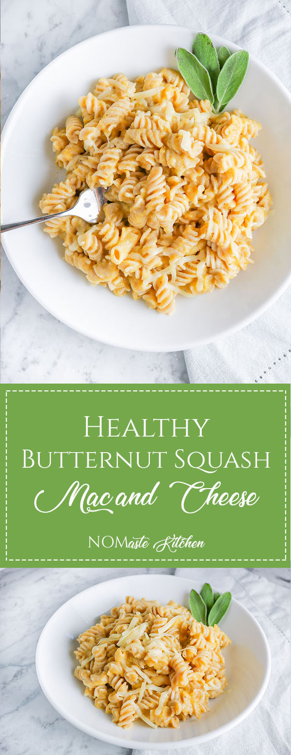 Love Mac and Cheese but watching your waistline? You'll LOVE this Healthy Butternut Squash Mac and Cheese. Satisfyingly creamy, yet light and flavorful! | NOMaste Kitchen