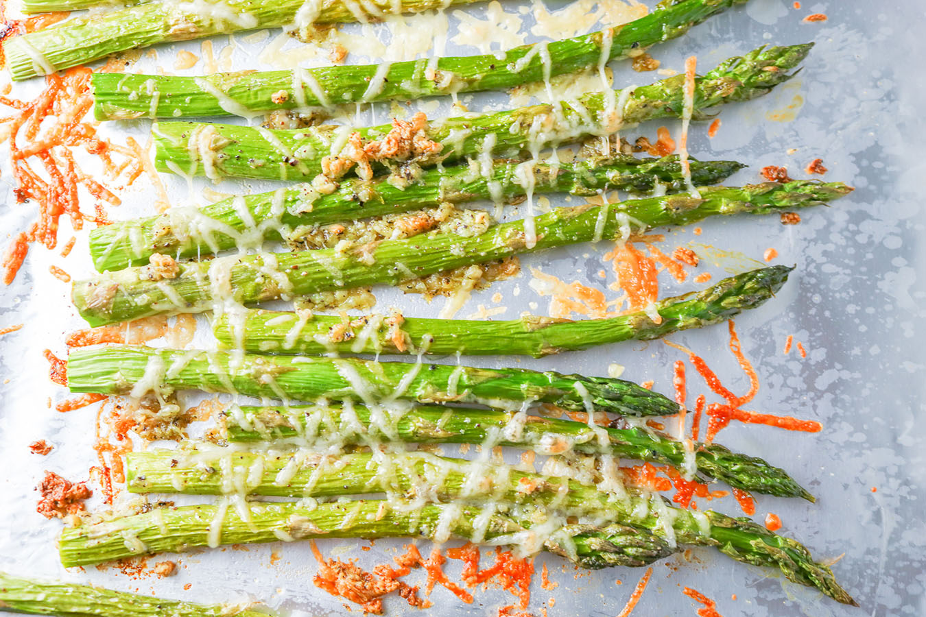 Think healthy has to mean boring? Absolutely not! This Roasted Parmesan Garlic Asparagus is quick, easy and delicious. A perfect side dish for one or more! | NOMaste Kitchen