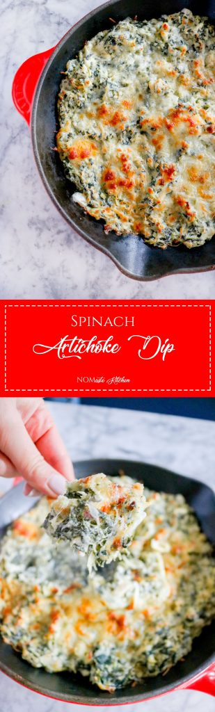 Creamy, cheesy, and so full of flavor, Spinach Artichoke Dip is appetizer you have been missing! Enjoy with pita chips, bread, fresh veggies! | NOMaste Kitchen