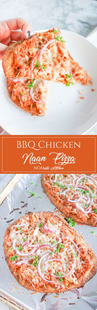 Fresh, easy, & delicious - this healthy BBQ Chicken Naan Pizza is sure to please. Use your favorite BBQ sauce and leftover chicken for quick dinner! | NOMaste Kitchen