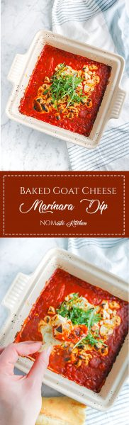 Creamy, rich goats' cheese, perfectly balanced by zesty marinara - this TWO-ingredient Baked Goat Cheese Marinara Dip is equally easy and impressive! | NOMaste Kitchen