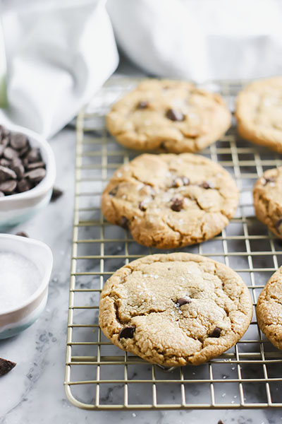 Crispy on the outside, soft on the inside - these Chocolate Chip Cookies are PERFECT! Browned butter & dark brown sugar give these cookies deliciously rich texture and flavor. | NOMaste Kitchen