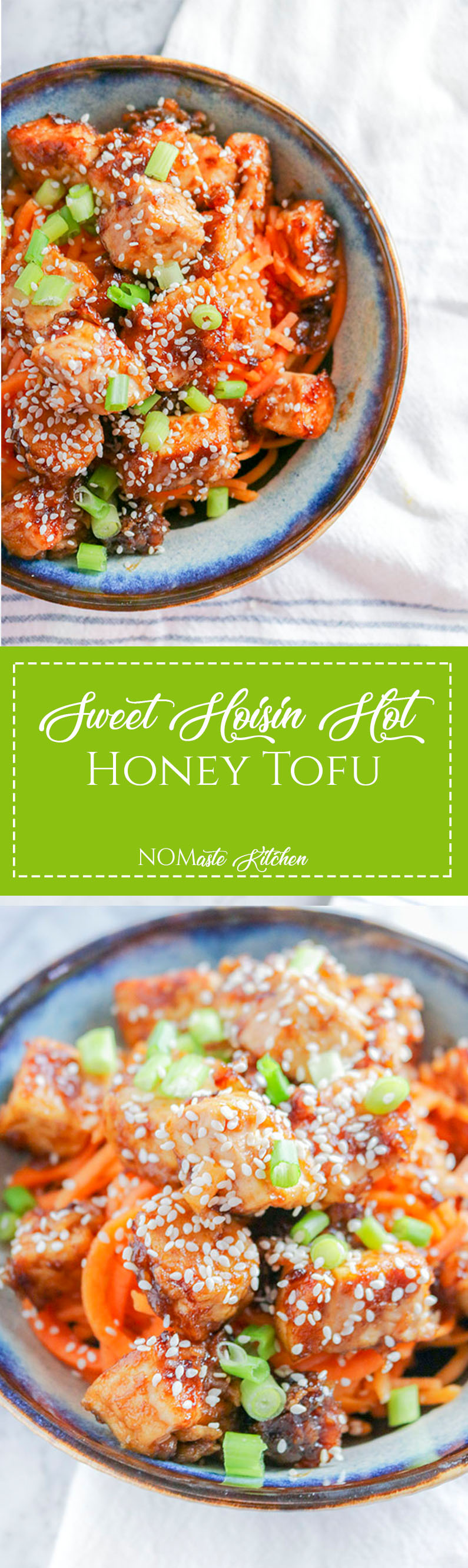 Crispy tofu coated with sweet yet tangy sauce, this Sweet Hoisin and Hot Honey Tofu won't disappoint! Enjoy over a bed of veggie noodles, farro, or greens! | NOMaste Kitchen