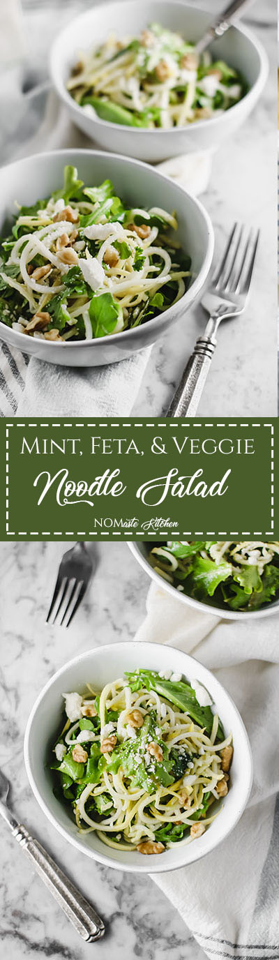 Refreshing and full of flavor, this Mint, Feta & Veggie Noodle Salad is sure to impress your taste buds and your friends.| NOMaste Kitchen
