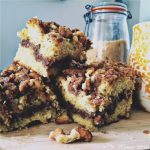 Soft and moist, perfectly sweet - this Sour Cream Coffee Cake is the ultimate addition to any breakfast, brunch, or afternoon tea. Dense sour cream cake is coated with buttery cinnamon sugar streusel topping and lined with a thick layer of dark cinnamon sugar filling. You won't be disappointed!   NOMaste Kitchen