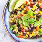 This Black Bean and Corn Salad is the EASIEST and most DELICIOUS side for your next outdoor dinner, picnic, or barbecue! Always a crowd pleaser!   NOMaste Kitchen