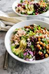 This Copycat Northstar Cafe Chopped Village Salad is perfect! Roasted chicken, dates, avocado, legumes, onions, goat cheese, & almonds with champagne vinaigrette... | NOMaste Kitchen